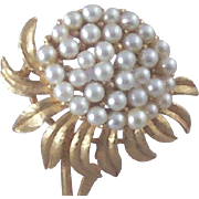 "Vintage Floral Brooch with Over Two-Dozen Simulated Pearl ""Seeds"""