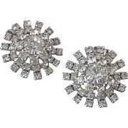 SOLD Vintage Sparkling Glass & Rhinestone Snowflake Ear Clips