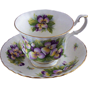 SOLD Vintage E & R (England) Bone China Teacup & Saucer Set with Violets