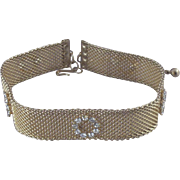 SOLD Vintage Victorian-Style Metal-Mesh Choker Necklace with Rhinestones