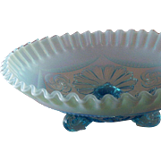 SALE Vintage Fenton Art Glass Opalescent Blue Crimped & Draped 3-Footed Bowl