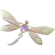 SALE Oversized Vintage Kennth J Lane (KJL) Avon Enameled & Rhinestone Dragonfly Brooch