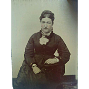 1880's Tintype portrait photograph attractive young woman in mourning costume jet jewelry
