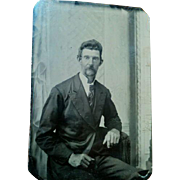 Later 1800s tintype portrait photograph older slim mustached man nice clarity painted scene ..