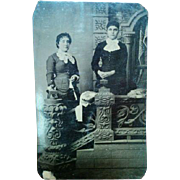 SALE Later 1800s tintype portrait Victorian photograph two young women posed at ornate ...