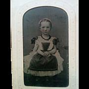 Darling tintype photograph Civil War era sweet young girl wearing pinafore apron