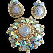 Juliana Book Piece Pin Set with Wedding Cake Art Glass and Icy Blue Aurora Borealis Rhinestone