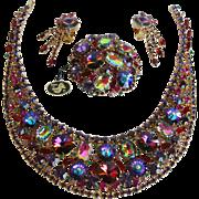 Juliana D&E Margarita, Rivoli and Watermelon  Bib Necklace, Earrings and Pin with Tag