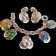 Vintage Venetian  Glass Charm Bracelet and Earring Set