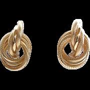 14K Gold Knot Circular Earrings, Vintage