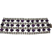 Weiss Vintage Purple Teardrop and Clear Rhinestone Wide Bracelet