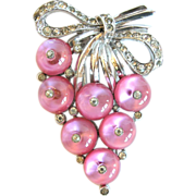 SALE Crown Trifari Pink Shoe-button Clip, 1938