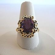 Vintage 14 Karat Gold Amethyst Bow Ring