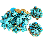 REDUCED Stanley Hagler and Ian St. Gielar Vintage Turquoise seed bead pin and earring set
