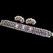 Vintage Red Aurora Borealis Bracelet with Earrings