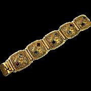 SALE Vintage Chunky Gold-tone Modernist Link Bracelet, European
