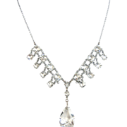 REDUCED Edwardian Clear Rhinestone Necklace with Un-Foiled Faceted Glass Drop