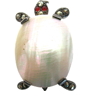 Victorian French Sterling Mother of Pearl with Marcasites Turtle Pin