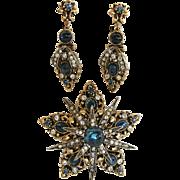 SALE Art © Vintage Blue Renaissance Revival Pin and Earring Set