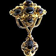 REDUCED Victorian Antique Cabochon Garnet 14K Gold Brooch, c. 1870s