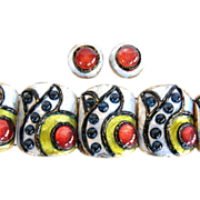 Andrée Bazot, Paris wide enamel cuff and earrings Set, Signed