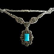SALE Czech  Vintage Turquoise Glass Pendant Necklace with Marcasites