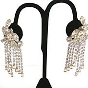 Kramer Vintage Dangle Clear Marquis Rhinestone Earrings