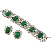SALE Vintage Juliana by DeLizza & Elster Flawed Emerald Glass Bracelet and Earring Set