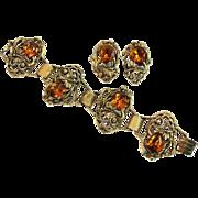 Vintage Renaissance Revival Chunky Bracelet and Earrings, Amber Glass Rhinestones