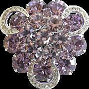 Weiss vintage violet rhinestone pin with clear rhinestone icing swirls