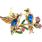 REDUCED Coro Bluebirds on a Branch Pin with Enamel Flowers