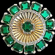 SALE Vintage Retro Style Green Princess Cut Rhinestone Pin