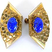 SALE Vintage Miriam Haskell Egyptian Revival Lapis Glass Earrings