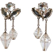 Vintage Faceted Crystal and Rhinestone Silver Dangle Earrings