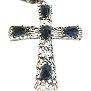 SALE Tortolani blue glass and silver-tone cross on chain