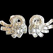 Trifari  Crown Mark Vintage Clear Rhinestone Baguette Swirl Earrings