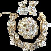 Juliana Vintage Clear Rhinestone Bracelet, Pin and Earring Parure Book Piece