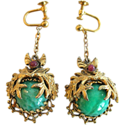 Bohemian Peking Glass and Gilt Brass Filigree Earrings