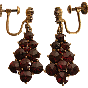 SALE Bohemian Rose Cut Garnet Sterling Vermeil Earrings
