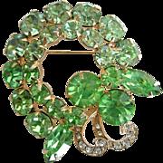 Weiss Spring Green Vintage 1950s Rhinestone Brooch
