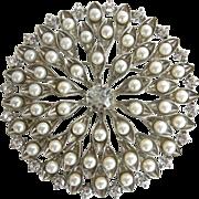Large Vintage Imitation Pearl and Rhinestone Brooch