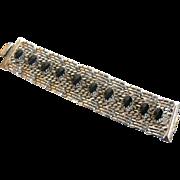 Vintage Chunky Silvertone and Black Cabochon Bracelet