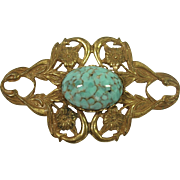 SALE Vintage Miriam Haskell gilt brooch with imitation turquoise art glass cabochon