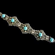 REDUCED Czech Aqua Glass Cabochon Filigree Bracelet