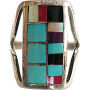 SALE Zuni Sterling Turquoise, Onyx  Inlay Vintage Ring by R Latone