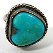 SALE Navajo Old Pawn Turquoise Sterling Ring