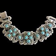 SALE Vintage Renaissance Revival Style Aqua Chunky Link Bracelet