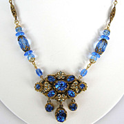 REDUCED Vintage Czech Filigree blue rhinestone medallion necklace with  enamel