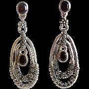 REDUCED Sajen Sterling Silver Garnet Long Dangle Earrings