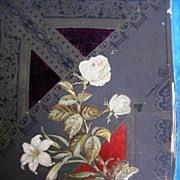 Antique Victorian Photo Album Cover..Embossed White Roses..Velvet Inserts